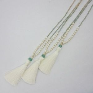 Extra Long Tassel World Changing Necklace White